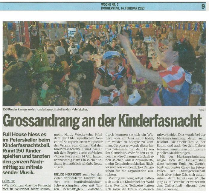 Kinderfasnacht 2013 Limmatwelle